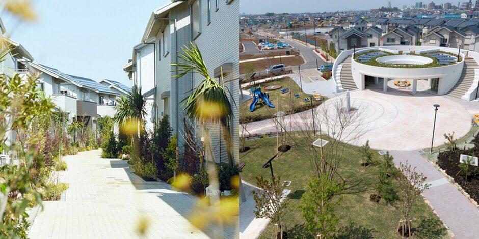 Вигляд містечка з сонячними панелями