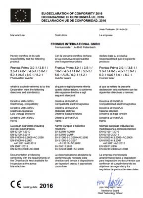Сертифікат TUV для мережевого інвертора Fronius
