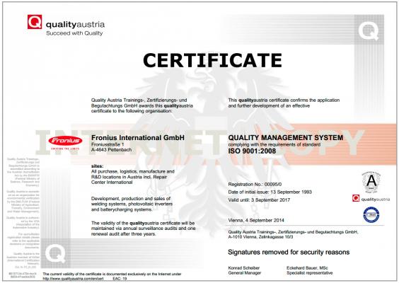 Сертифікат ISO для мережевого інвертора Fronius