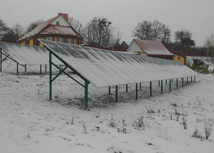 Зимовий монтаж сонячної електростанції 30 кВт під зелений тариф в с.Грушвиця, Рівненського району