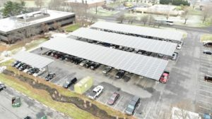 Навіс з сонячних панелей для автомобіля